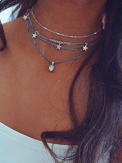 Layered Star Pendant Choker Necklace - Silver