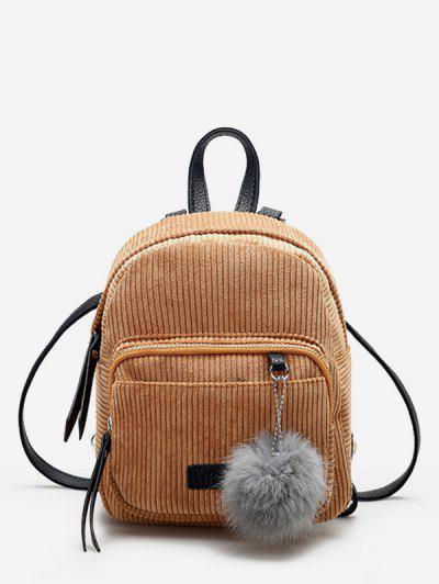 Canvas Fuzzy Ball Small Backpack - Light Brown