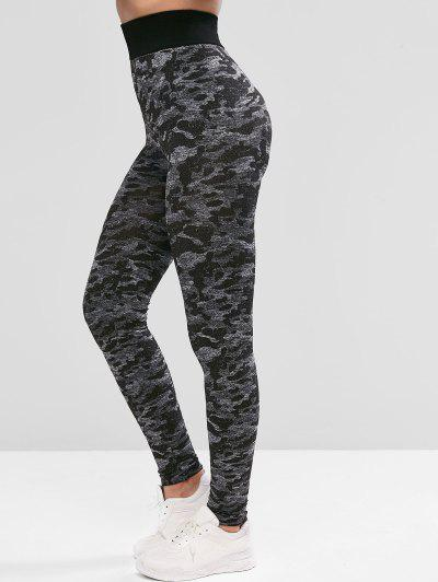 Camouflage High Waist Sports Leggings - Black M