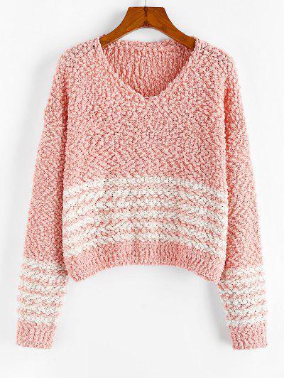 ZAFUL Popcorn Knit Striped Drop Shoulder Sweater - Deep Peach M