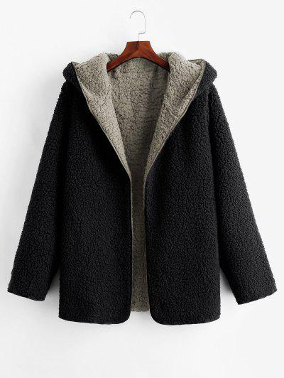 Hooded Open Front Lamb Wool Teddy Coat - Gray L