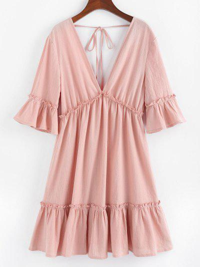 ZAFUL Bell Sleeve Ruffle Plunging Dress - Rose S