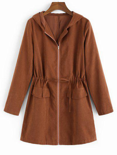 ZAFUL Hooded Waist Drawstring Coat - Chestnut M