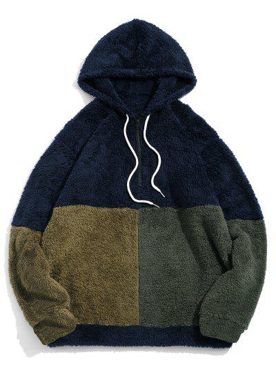 ZAFUL Color-blocking Splicing Half Zipper Fuzzy Hoodie - Cadetblue 2xl