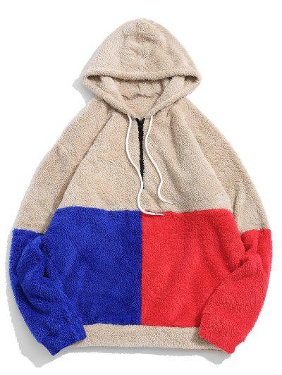ZAFUL Color-blocking Splicing Half Zipper Fuzzy Hoodie - Light Khaki Xl