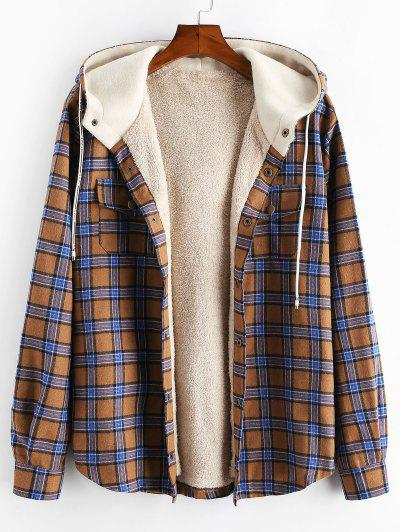 Plaid Chest Pocket Fleece Drawstring Hooded Jacket - Camel Brown L
