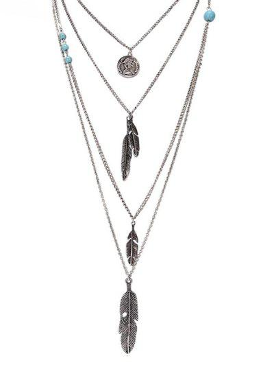 Artificial Turquoise Feather Layered Pendant Necklace - Silver