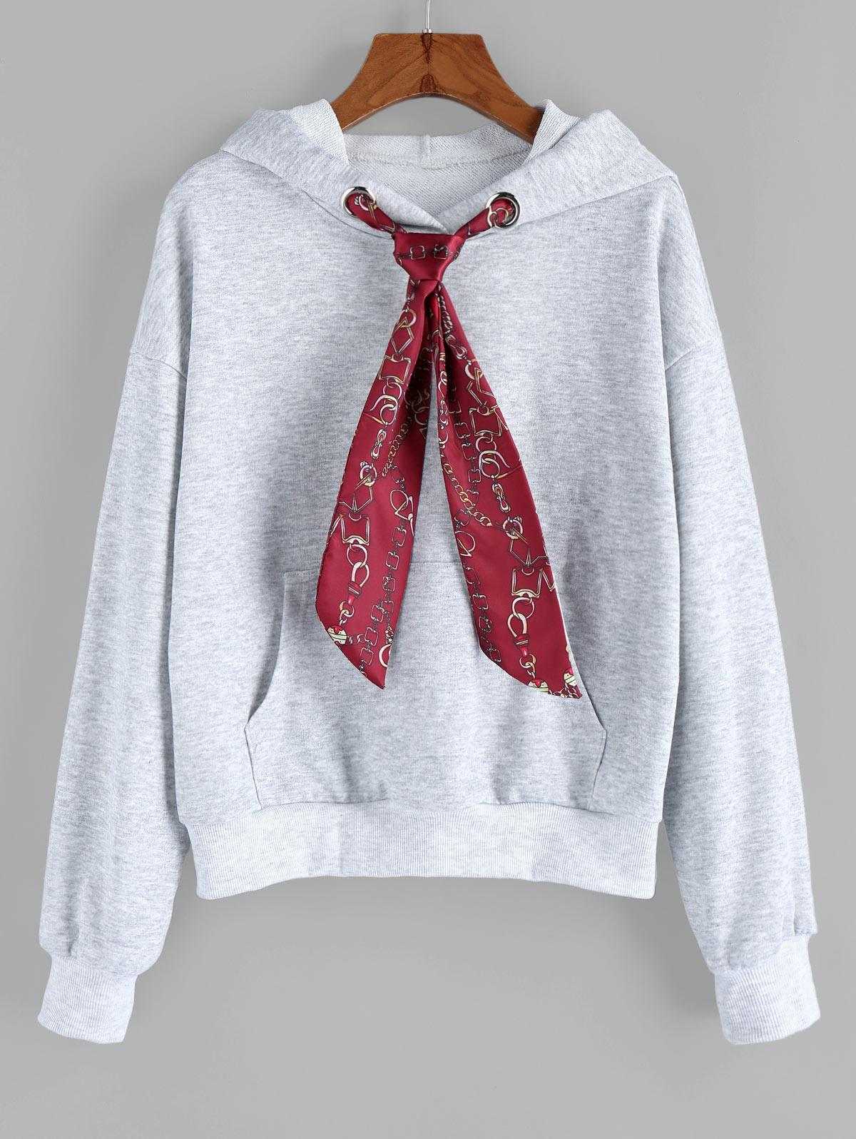 ZAFUL Chain Print Necktie Drop Shoulder Front Pocket Hoodie