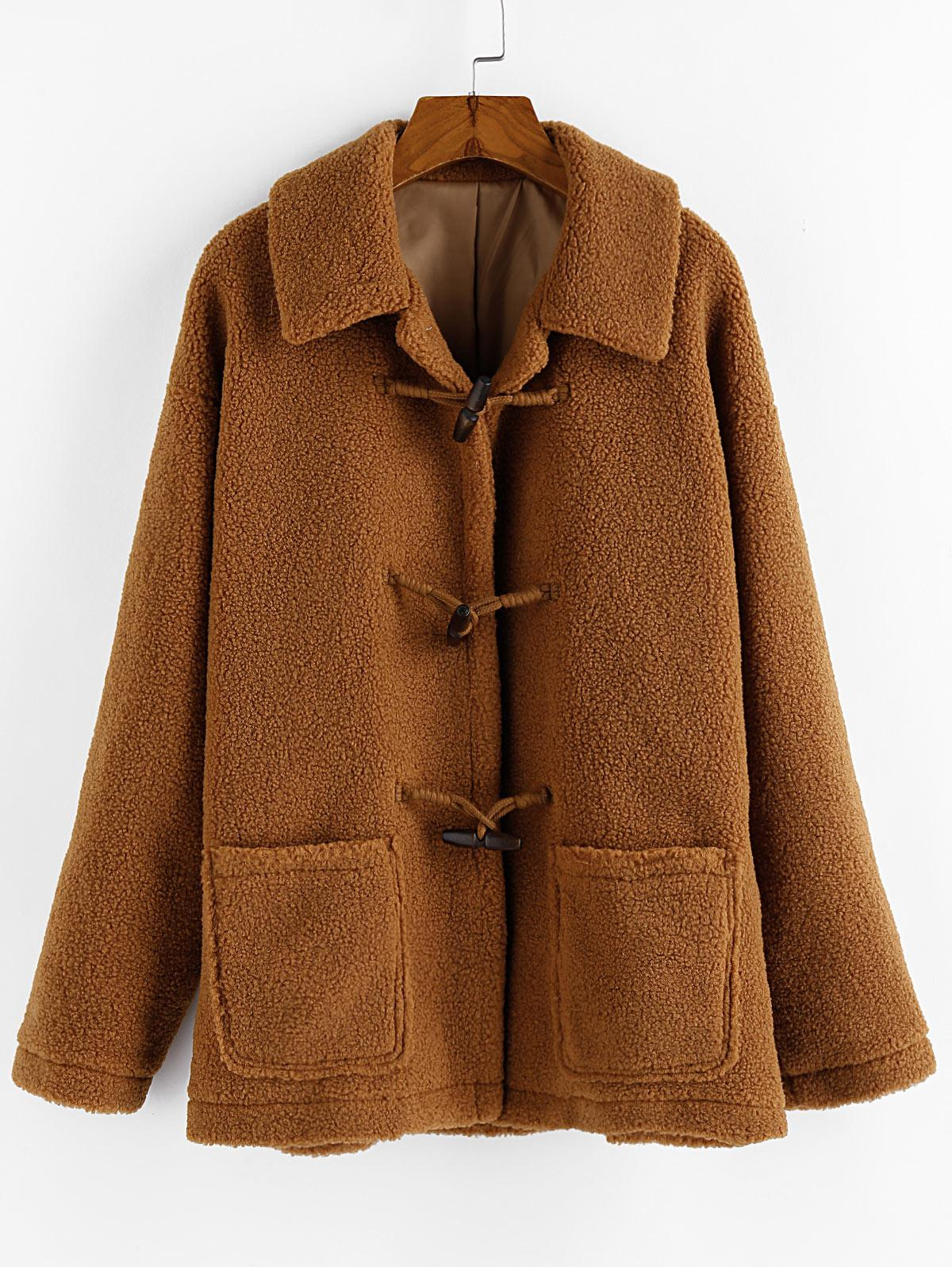 ZAFUL Pocket Faux Shearling Drop Shoulder Duffle Teddy Coat