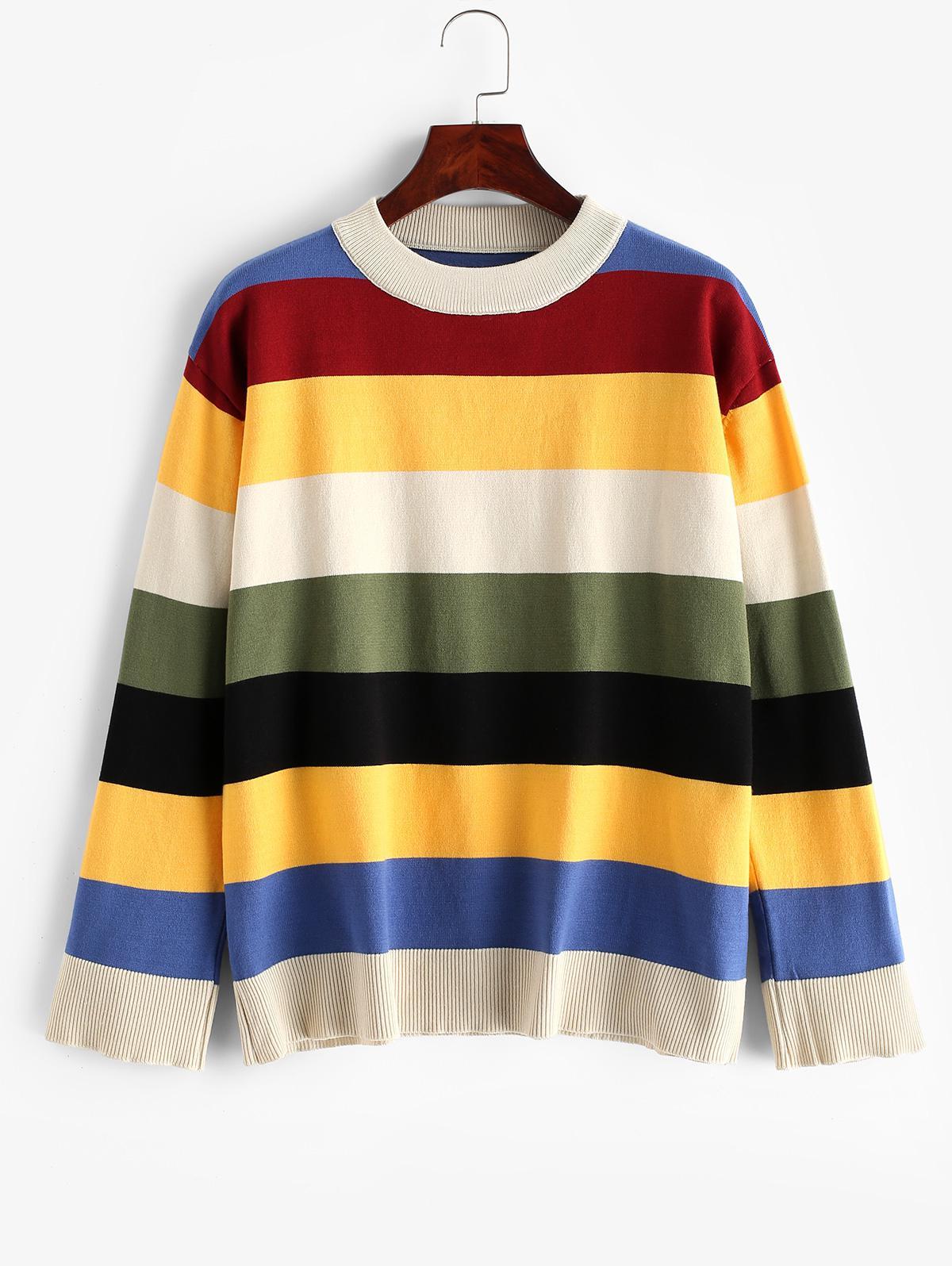 Colorblock Stripes Crew Neck Pullover Sweater