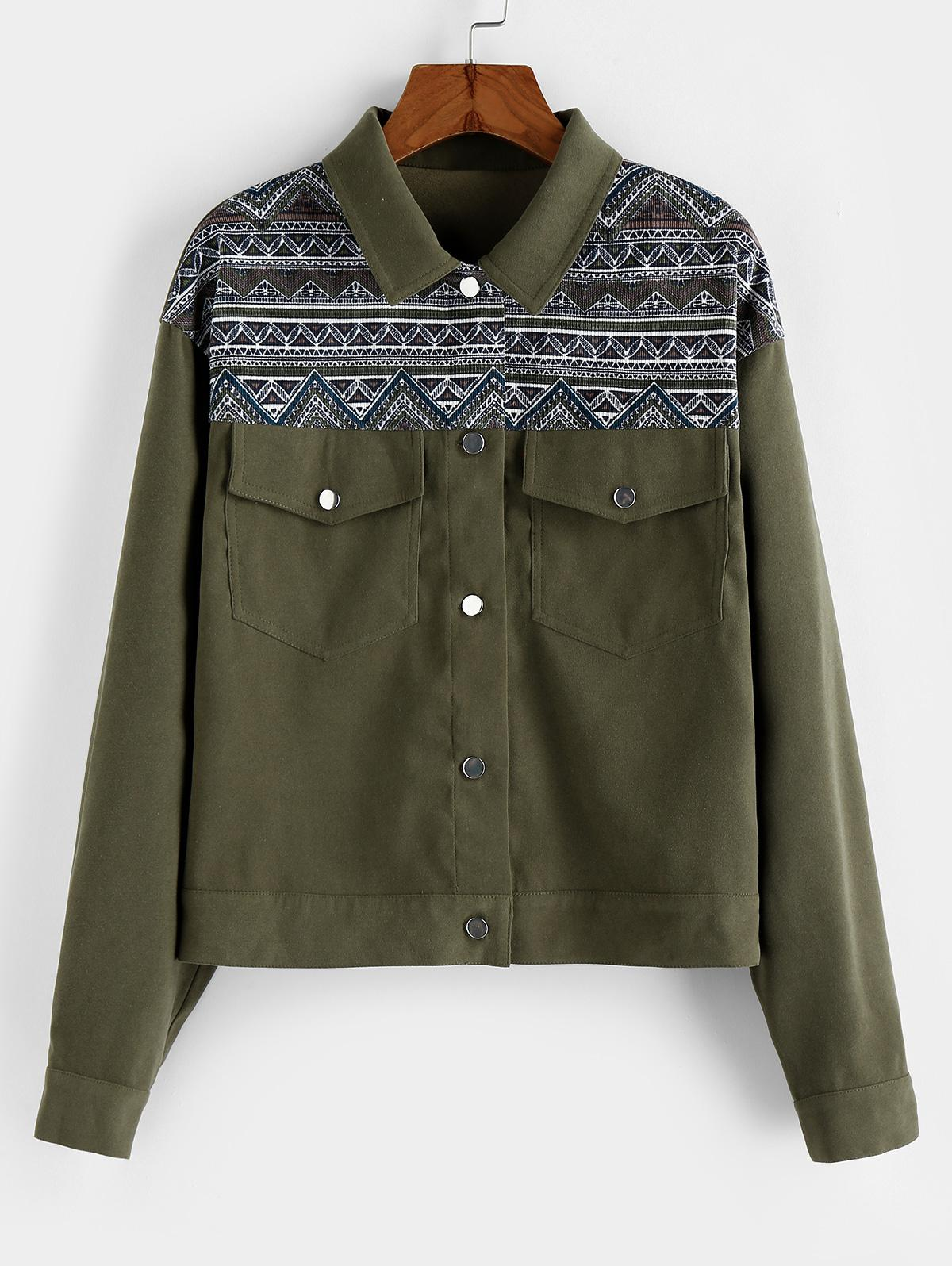 ZAFUL Aztec Print Drop Shoulder Pocket Jacket