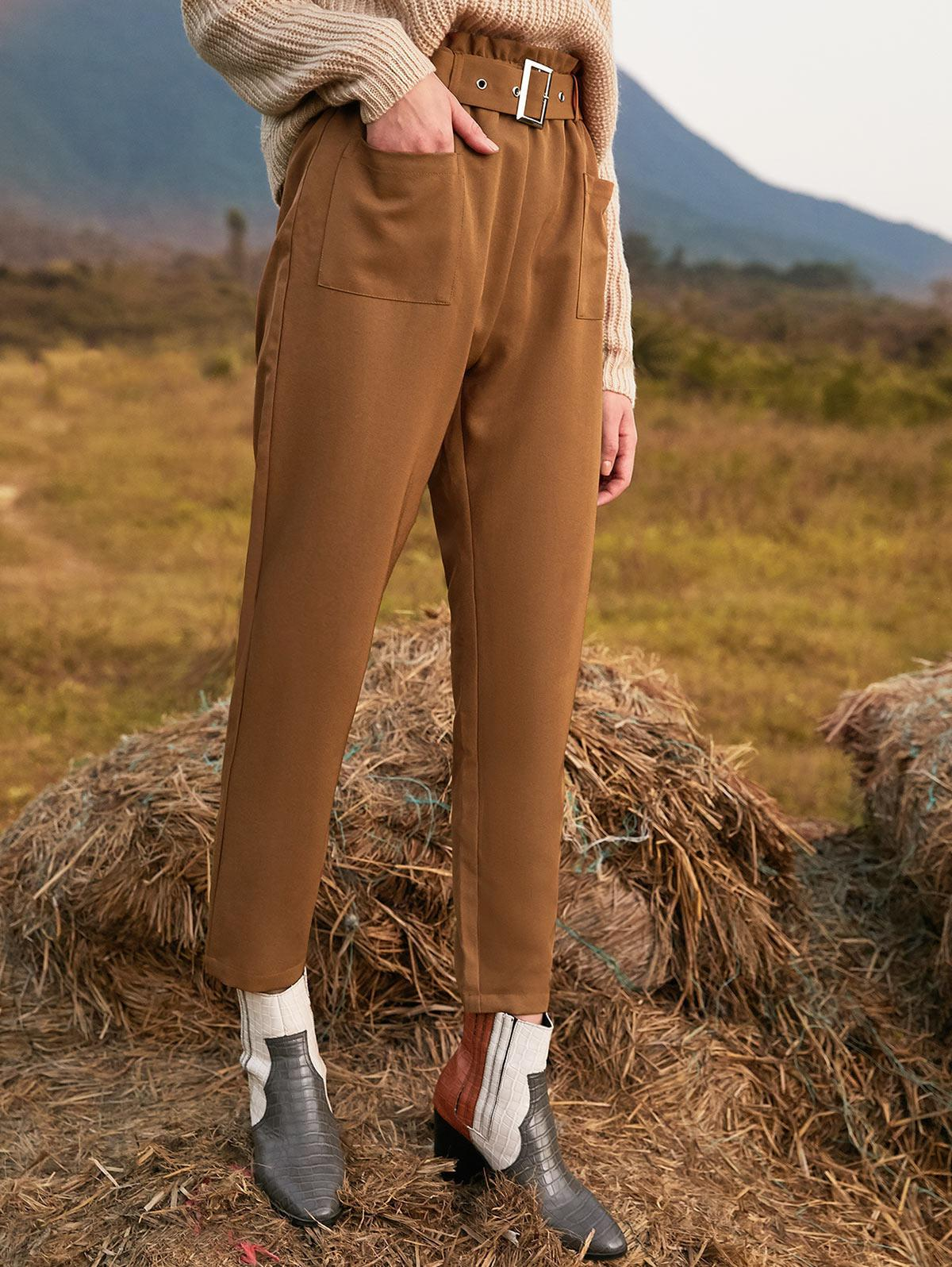 ZAFUL Pockets Belted Straight Paperbag Pants