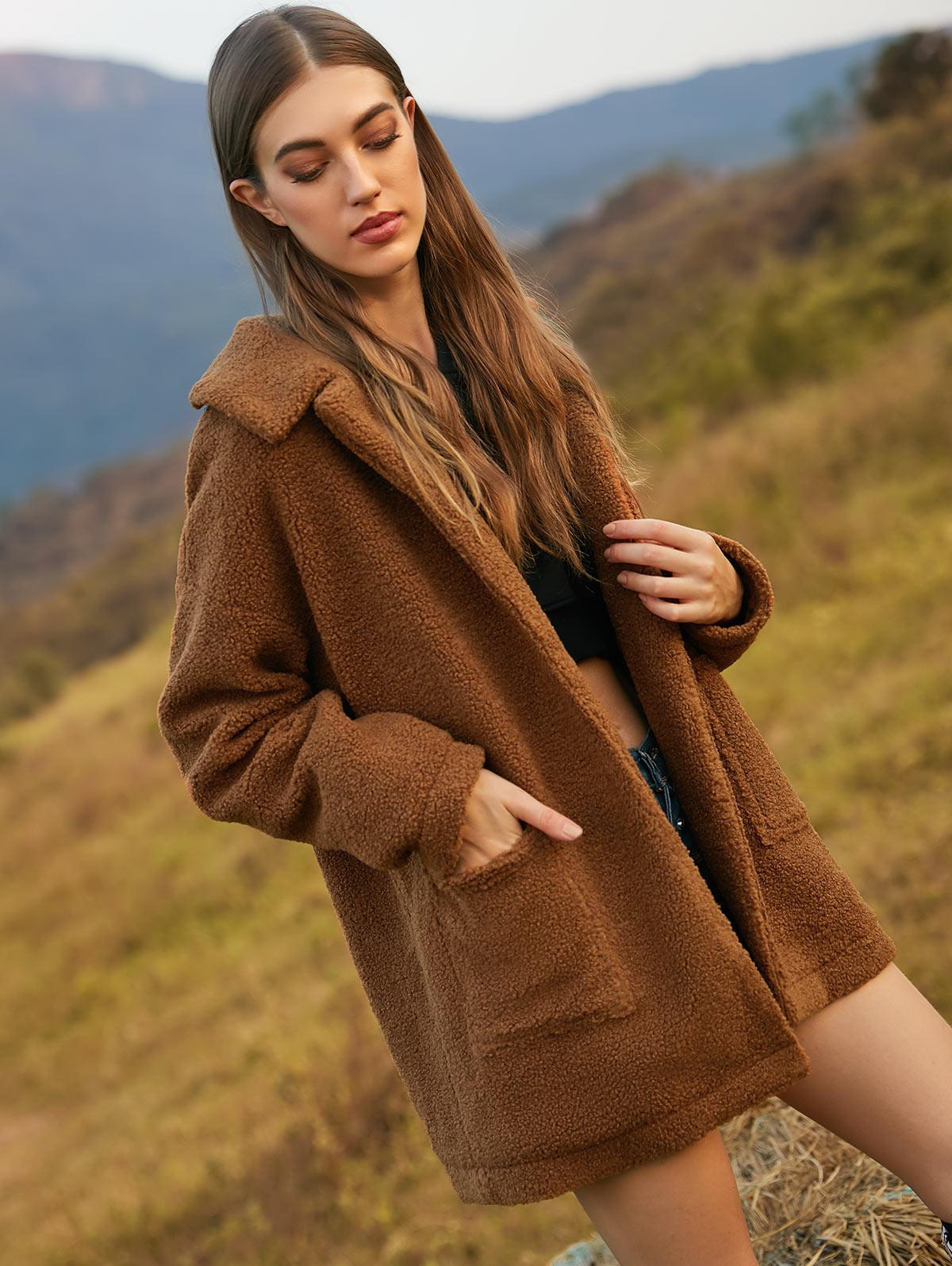 ZAFUL Drop Shoulder Open Pocket Fluffy Teddy Coat фото