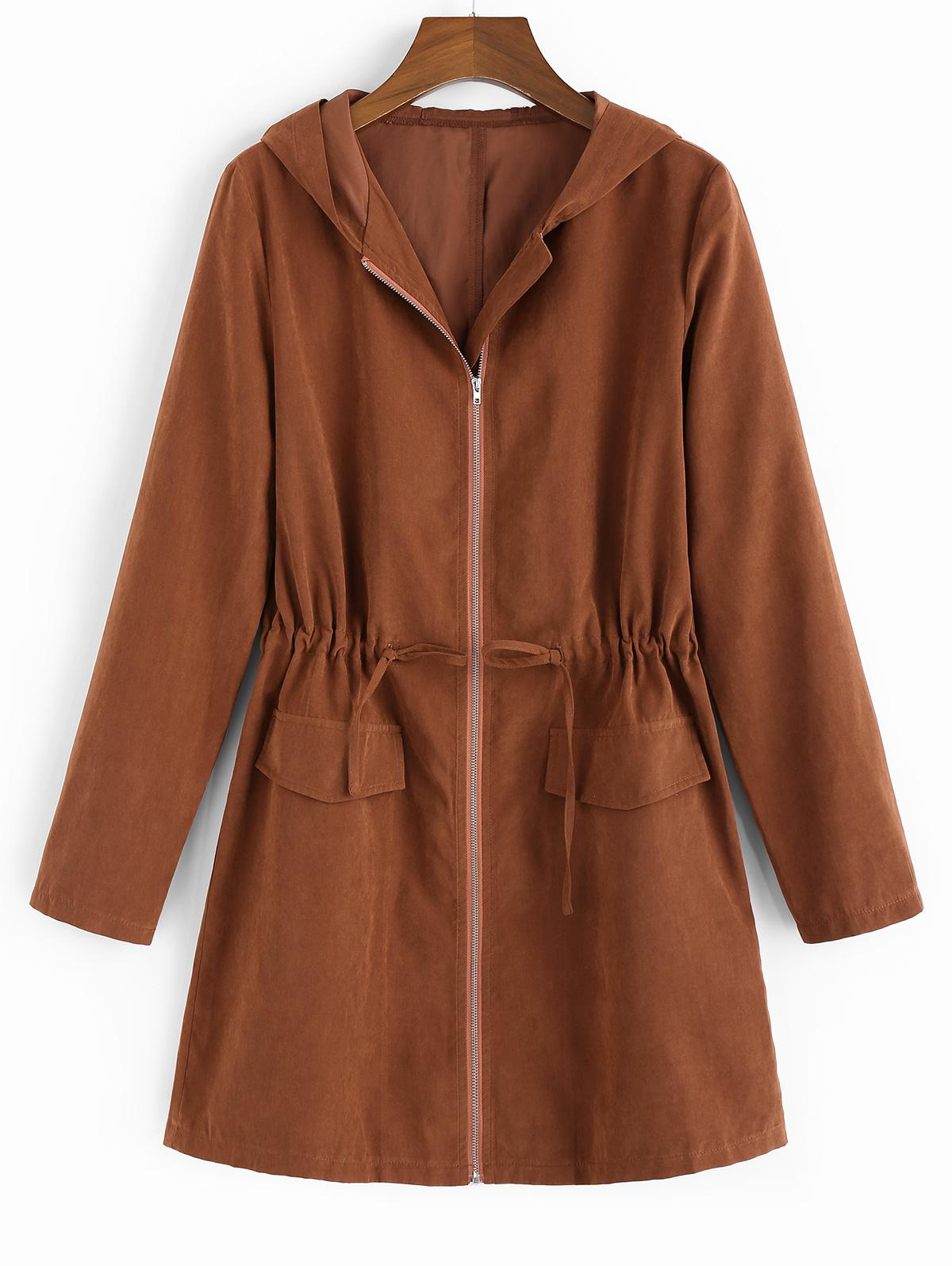 ZAFUL Hooded Waist Drawstring Coat