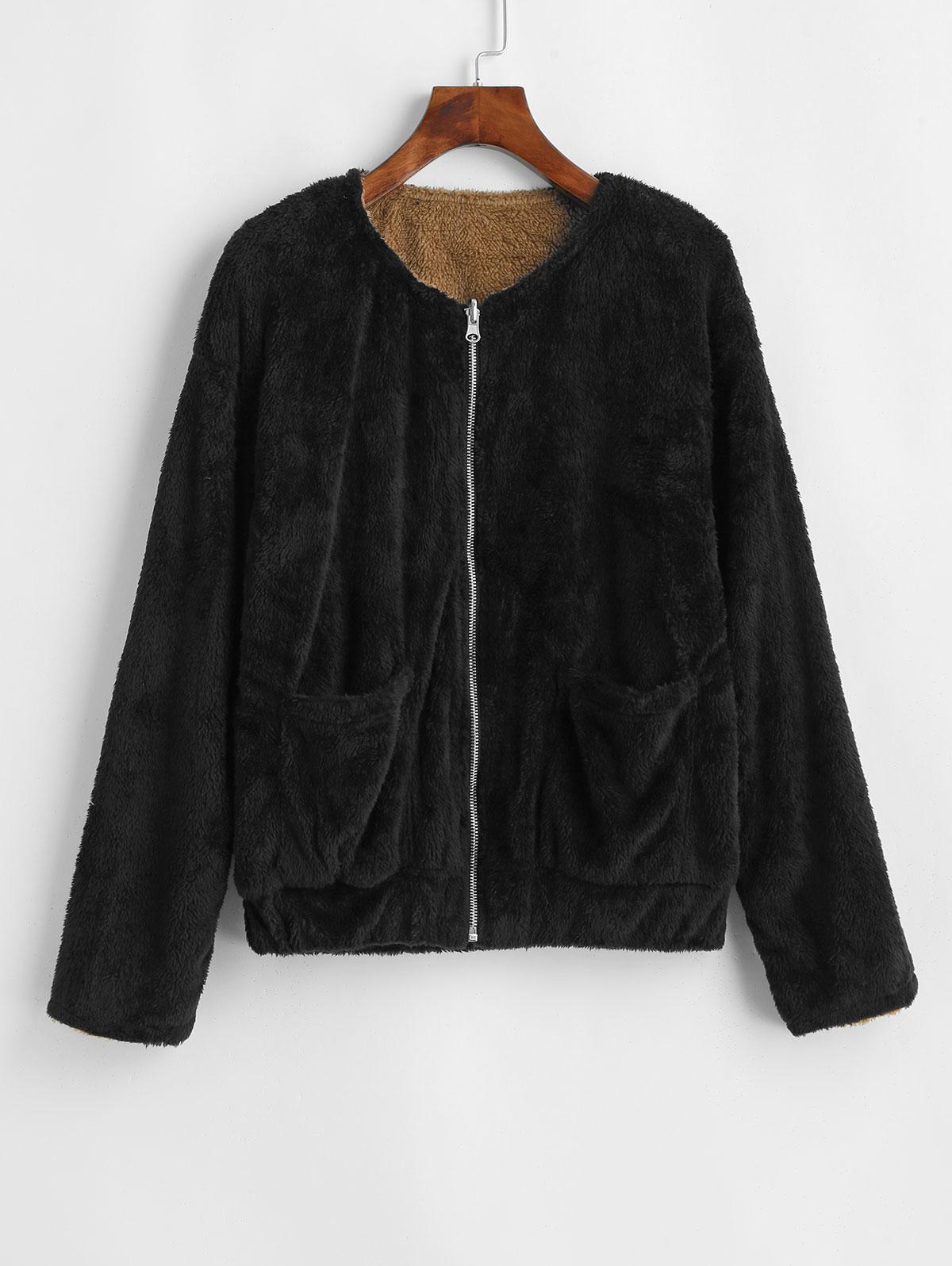 Reversible Fluffy Drop Shoulder Pocket Coat