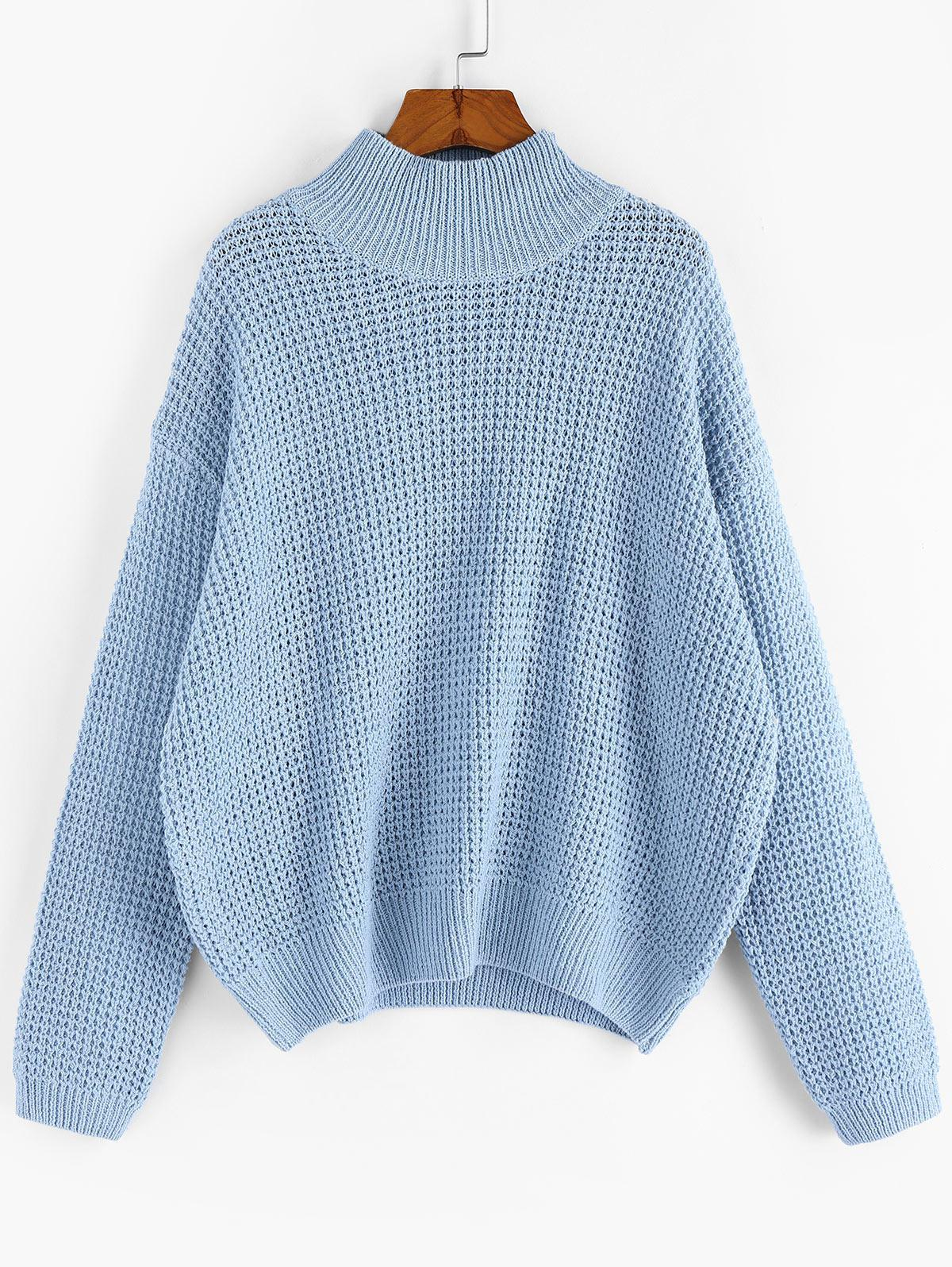 ZAFUL Drop Shoulder Plain Mock Neck Sweater