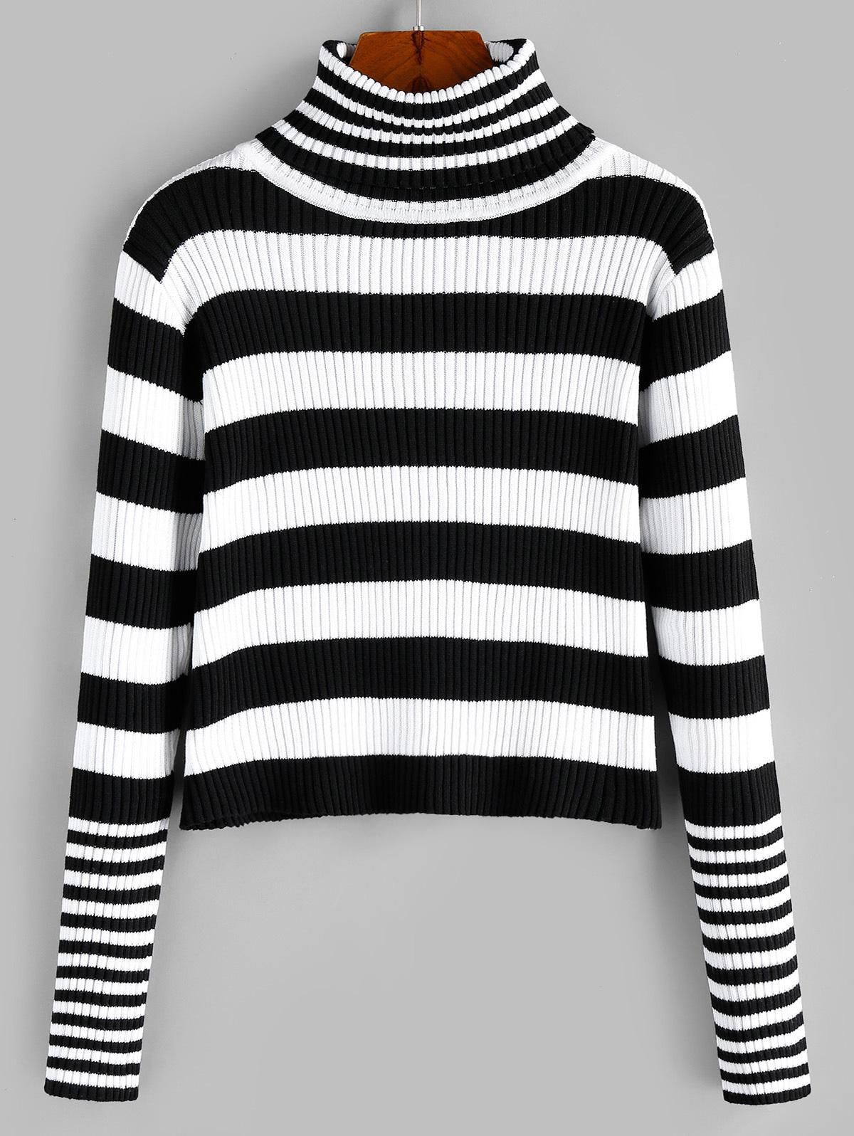ZAFUL Turtleneck Striped Ribbed Jumper Sweater