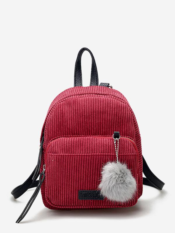 Canvas Fuzzy Ball Small Backpack