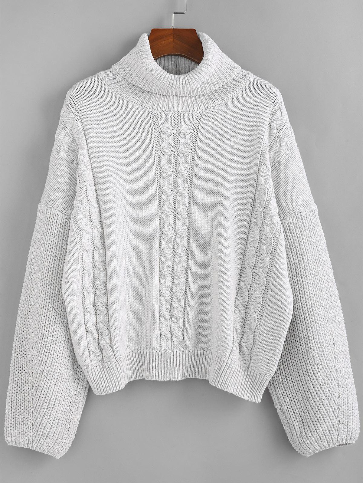ZAFUL Cable Knit Turtleneck Sweater