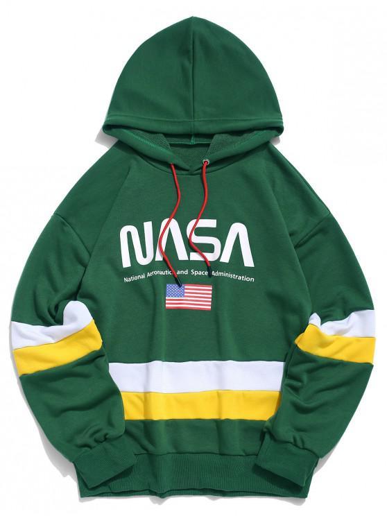 ZAFUL la bandera americana de color Bloqueo de impresión de letras con capucha - Mar Verde Mediana L