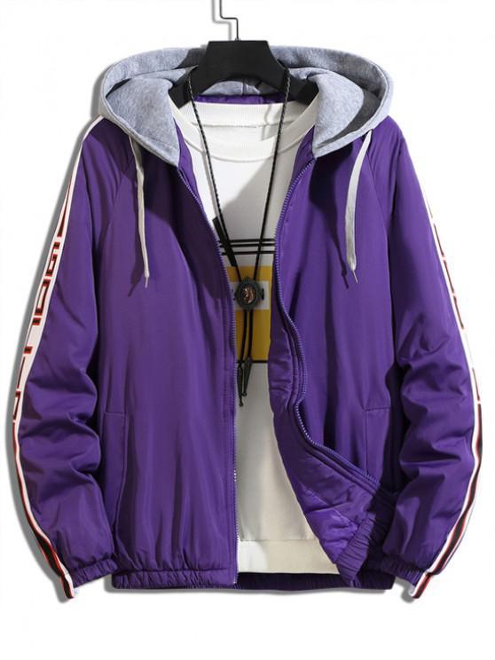 buy Color Spliced Hooded Casual Jacket - PURPLE 2XL