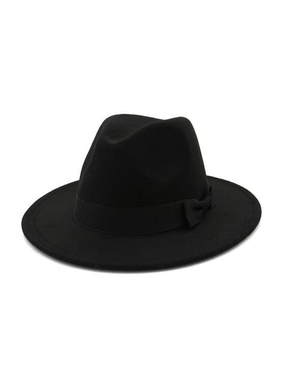 British Style Bowknot Felt Jazz Hat - Negru