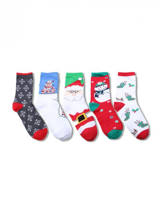 5Pairs คริสต์มาส Elk ซานตาชุดถุงเท้า - Multi-B