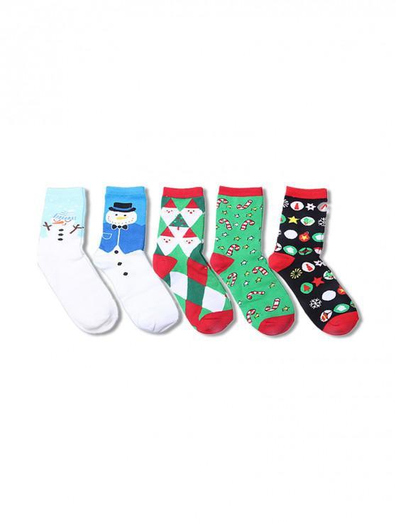 women 5Pairs Christmas Elk Santa Socks Set - MULTI-C