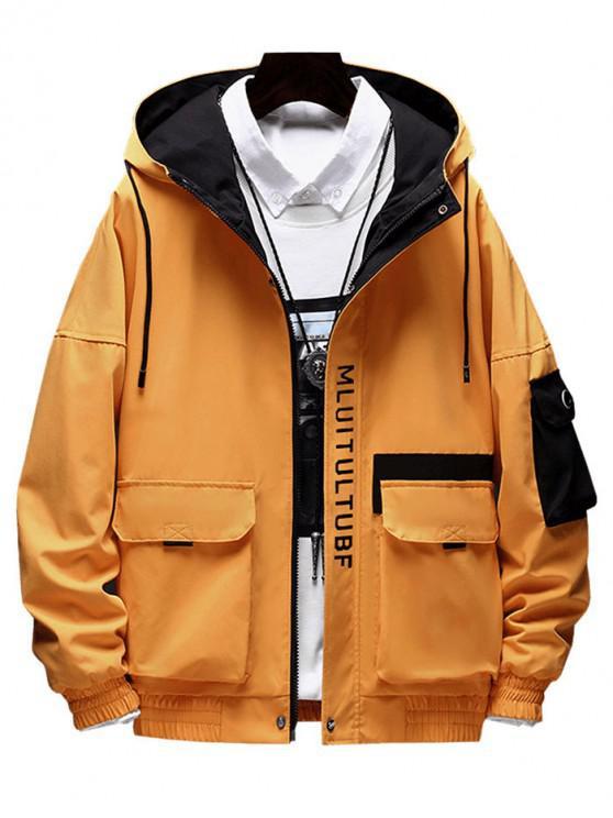 レターパターンポケットデコレーションジャケット - 金茶色 L