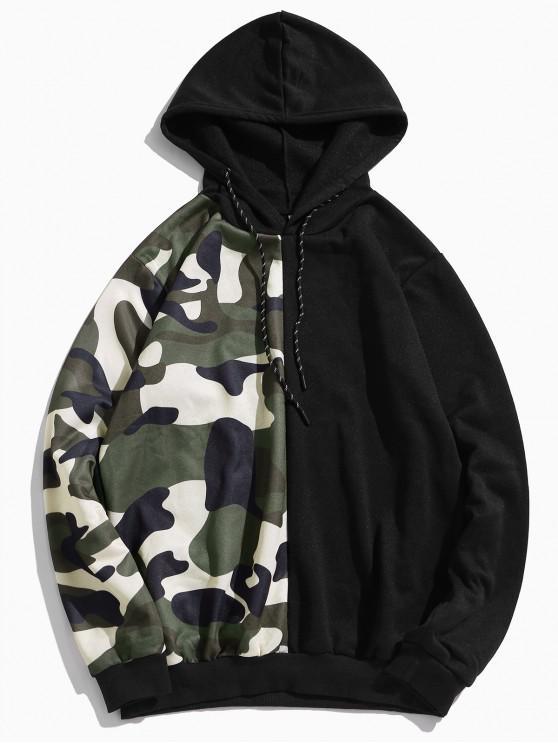shops Camouflage Print Colorblock Splicing Fleece Drawstring Hoodie - BLACK M