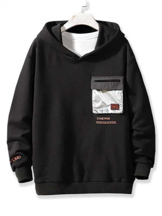 shop Metallic Flap Pocket Letter Print Pullover Hoodie - BLACK L