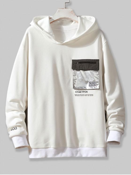 ladies Metallic Flap Pocket Letter Print Pullover Hoodie - WHITE XS