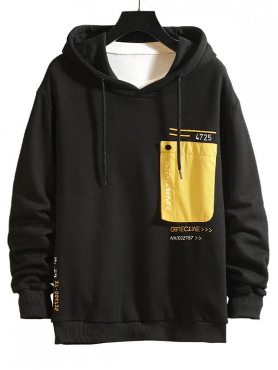online Colorblock Patch Spliced Letter Print Drawstring Hoodie - YELLOW L