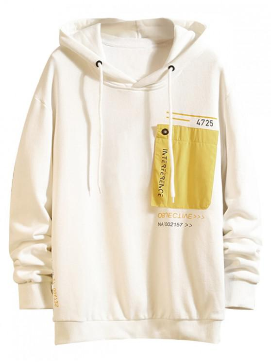 shop Colorblock Patch Spliced Letter Print Drawstring Hoodie - WHITE L
