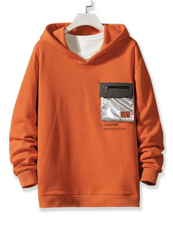 latest Metallic Flap Pocket Letter Print Pullover Hoodie - BRIGHT ORANGE XS