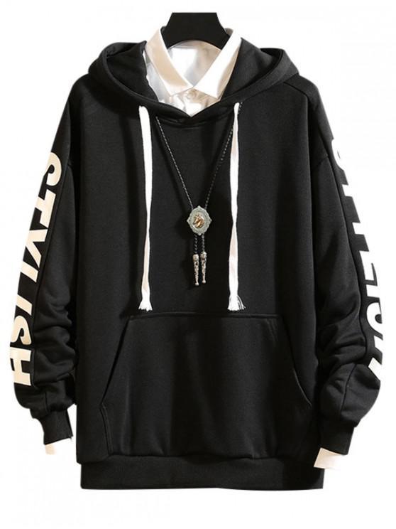 fashion Drop Shoulder Stylish Letter Print Casual Hoodie - BLACK M