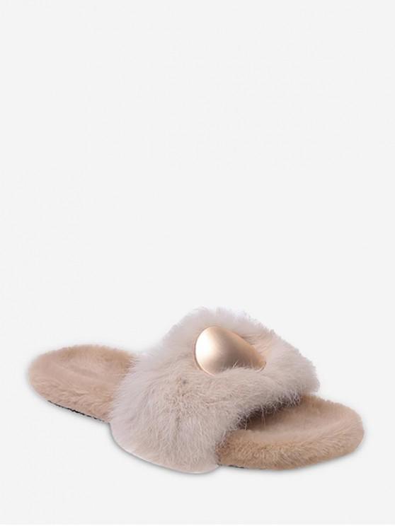 sale Open Toe Round Metal Fuzzy Flat Shoes - LIGHT KHAKI EU 38