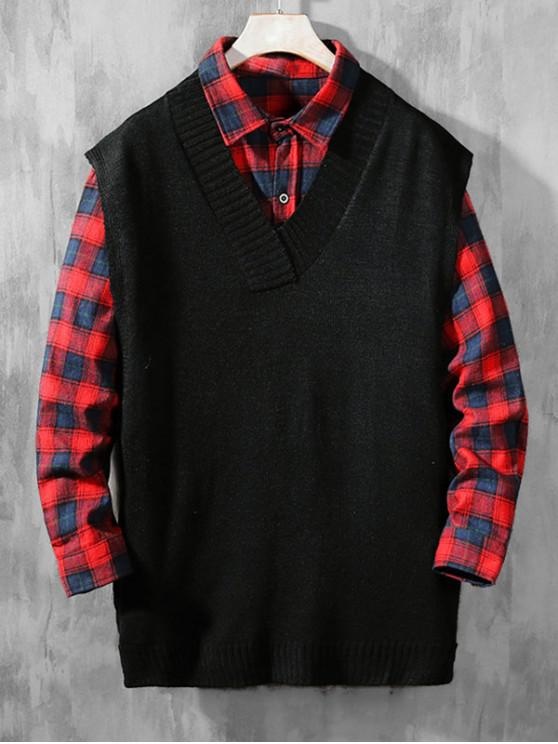 outfit Solid Color Casual Sweater Vest - BLACK S
