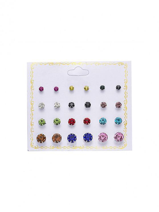 womens 12Pairs Rhinestone Stud Earrings Set - MULTI