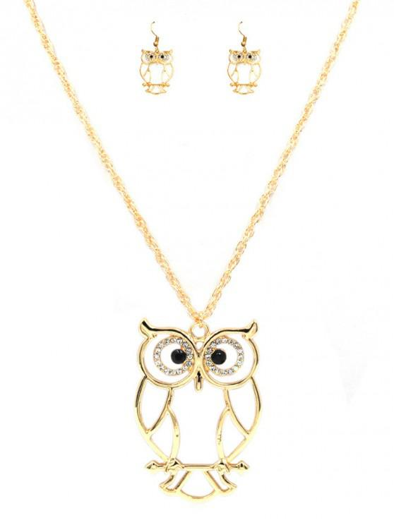 shop Hollow Out Owl Pendant Necklace And Earrings Set - GOLD