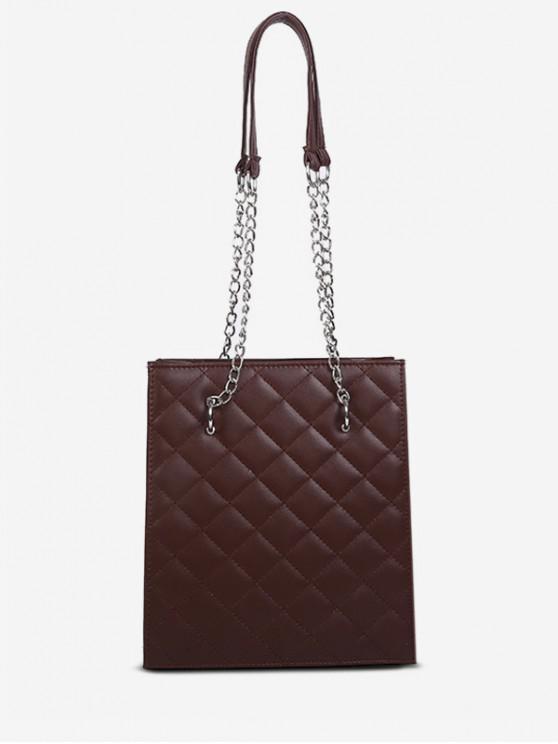 hot Solid Color Stitching Design Shoulder Bag - BROWN