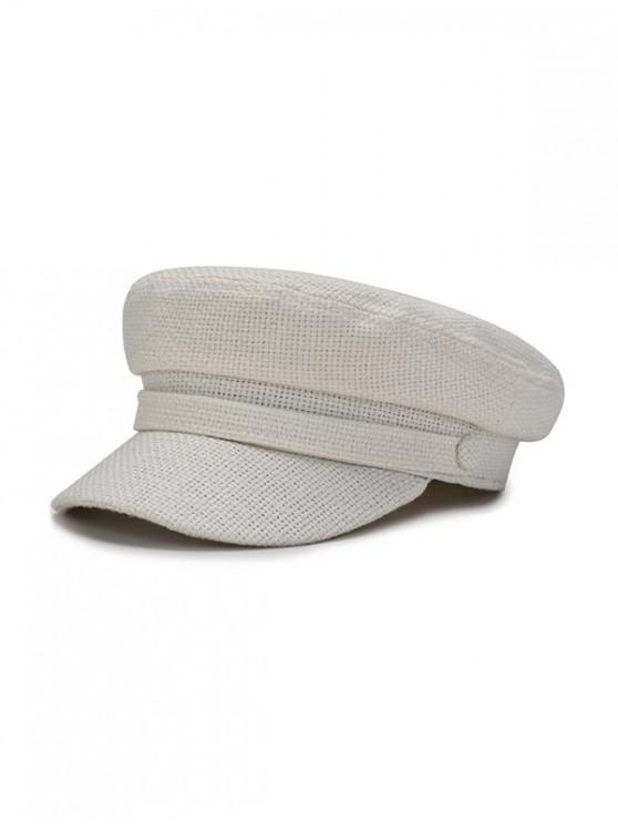 shop Solid Casual Flat Cadet Cap - MILK WHITE