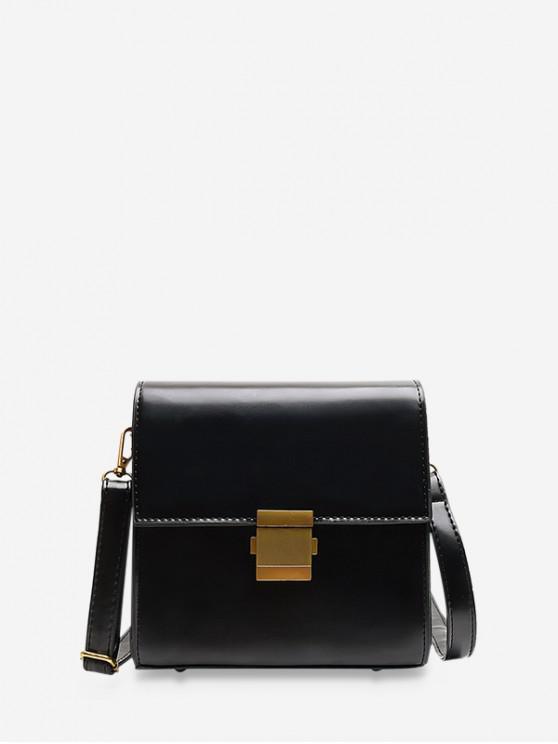 fashion Simple Solid Crossbody Shoulder Bag - BLACK