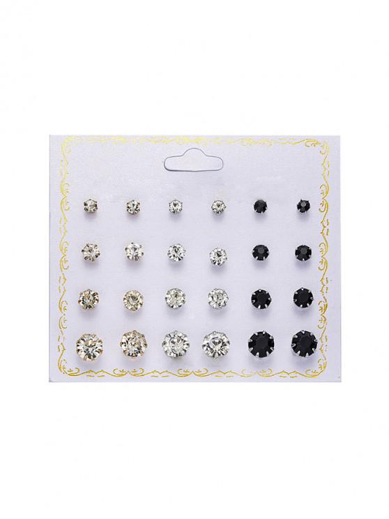 buy 12Pairs Rhinestone Stud Earrings Set - BLACK