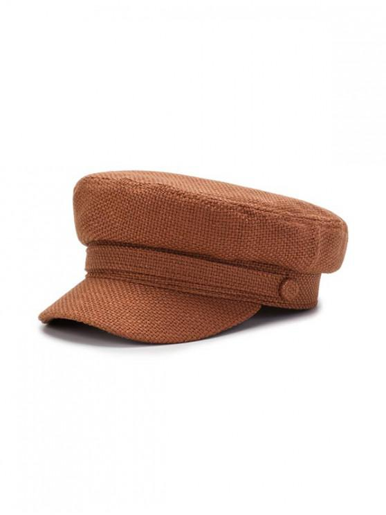 womens Solid Casual Flat Cadet Cap - LIGHT BROWN
