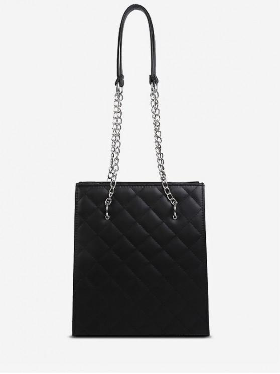 outfits Solid Color Stitching Design Shoulder Bag - BLACK