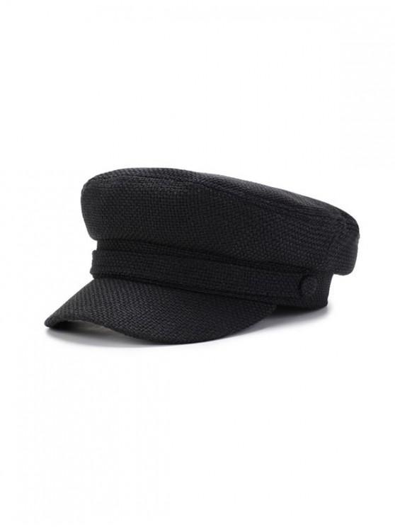 women's Solid Casual Flat Cadet Cap - BLACK