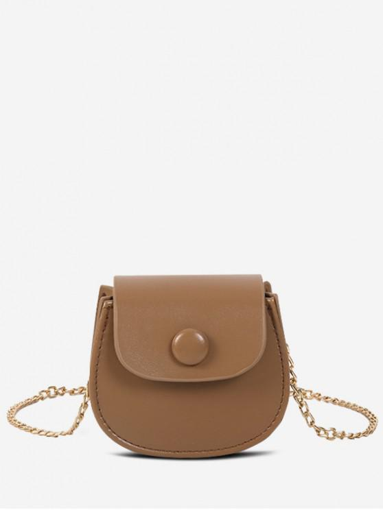 lady Solid Saddle Shoulder Bag - LIGHT BROWN