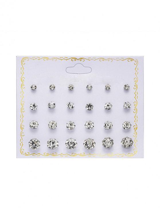 hot 12Pairs Rhinestone Stud Earrings Set - SILVER