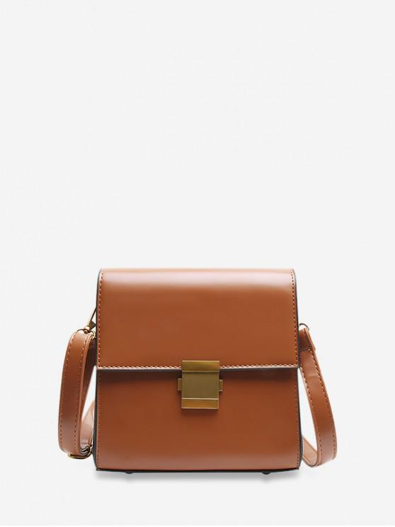 shop Simple Solid Crossbody Shoulder Bag - BROWN